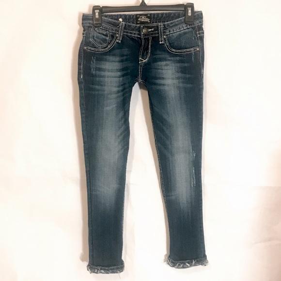 REROCK FOR EXPRESS Destructed Skinny Jeans 0 S